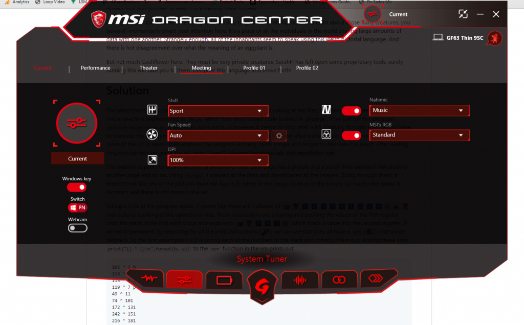 Dragon Center app tuning window