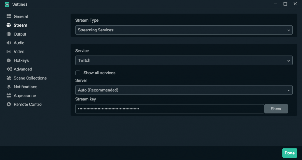 The Streamlabs OBS Settings Menu